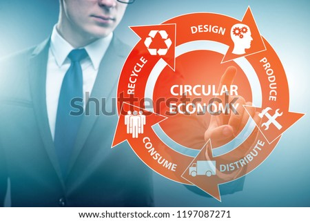 Concept of circular economy with businessman #1197087271