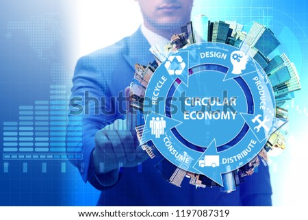 Concept of circular economy with businessman #1197087319