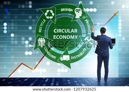 Concept of circular economy with businessman #1207932625