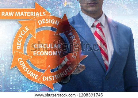 Concept of circular economy with businessman #1208391745