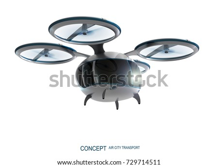 Concept of city air passenger transport. Unmanned drone taxi. 3d rendering image