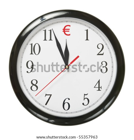concept of clock and euro symbol isolated on white background