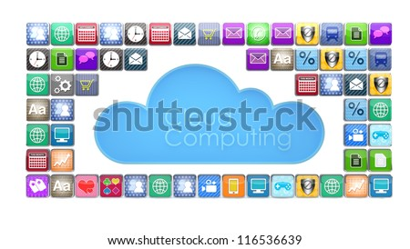Concept of cloud computing with various apps.  Note to reviewer: Smartphone and icon graphics are designed by the contributor.