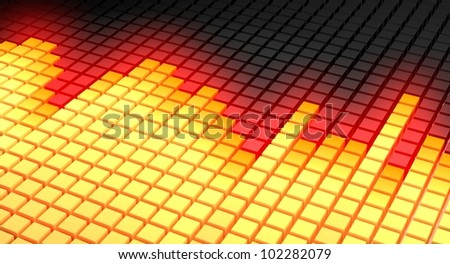 Concept of colorful graphic equalizer display as used in music monitoring devices. Rendered in diagonal perspective in yellow, red and black color scheme with peaks intensively glowing in red color.
