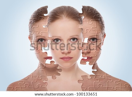 concept of cosmetic effects, treatment and skin care.  face of young woman before and after the procedure - stock photo