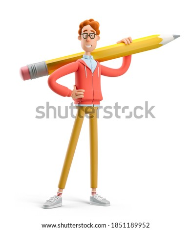 Concept of creativity, creative thinking, innovative idea, innovation, inspiration for artist, creator.  Nerd Larry holding big pencil. 3d illustration.