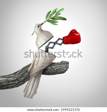 Concept of deception and betrayal as deceptive truth or falsehood and being deceived as an open peace dove with a punching symbol surprise with 3D illustration elements. Photo stock ©