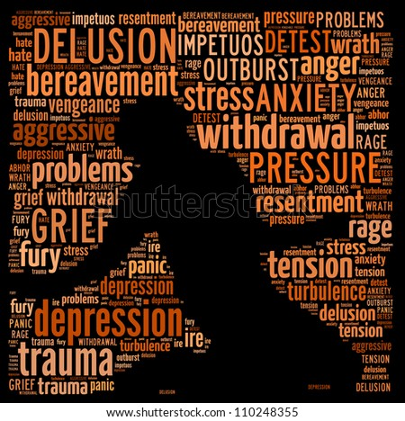 Concept of depression: text graphics