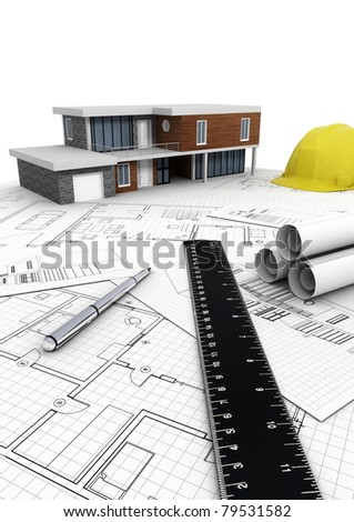 Concept of designing and building  a modern house project in vertical format