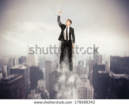 Concept of determination and success with flying Super hero businessman