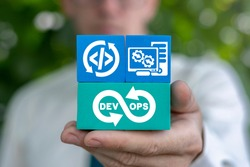 Concept of Dev Ops. Software Development and Operations. DevOps Agile Development Technology.