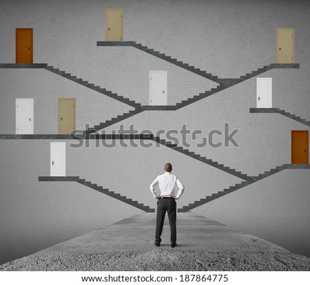 Concept of difficult choice of a businessman
