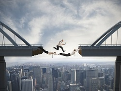 Concept of difficulty in business and teamwork