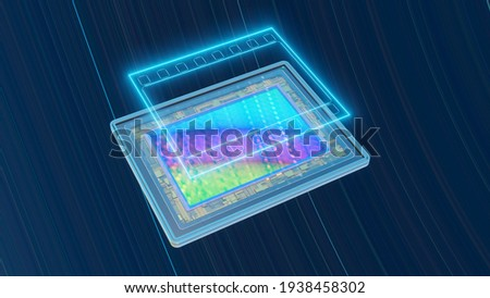 Concept of digital photography: full-frame sensor for digital camera with neon film contours, 3D rendering Foto stock ©