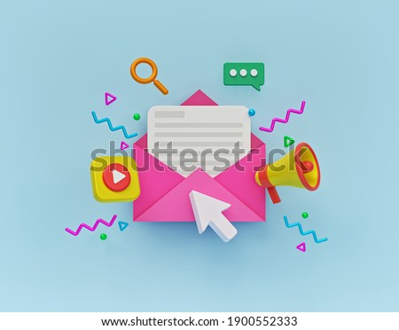 Concept of direct digital marketing, email advertising, newsletter promotion campaign. minimal style design. 3d rendering