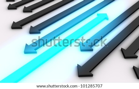 Concept of direction leader portrayed by black arrows going backwards (in wrong direction) whereas only one arrow glowing in blue color heads forward (in the right direction) which makes it leader.