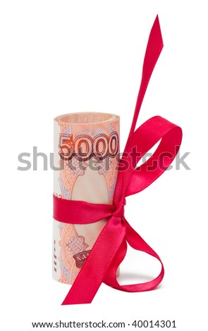 Concept of discount - roubles with red bow isolated on the white background