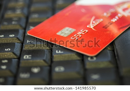 Concept of e-commerce with credit card