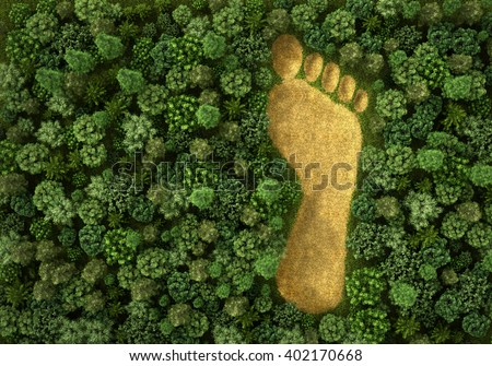 Concept of ecology. Imprint of human footprint in nature. It was here come human foot. 3d illustration