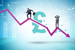 Concept of economic crisis and gbp pount inflation