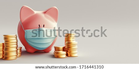 Concept of economic crisis. Creative pig with a medical mask. Money and pills. Coronavirus pandemic and the collapse of the economy. 3d rendering