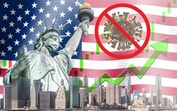 Concept of economic recovery after found vaccine and the coronavirus pandemic end, uptrend stock with green arrow and The Statue of Liberty with mask background in United States