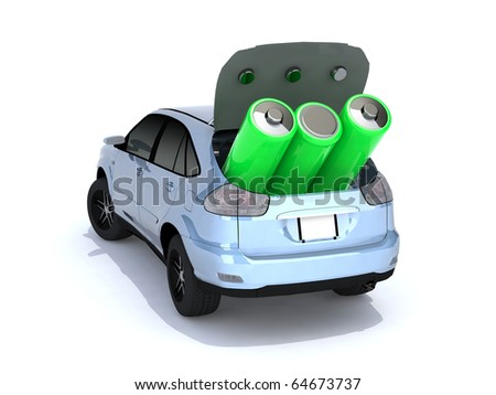 concept of electric car with green AA batteries