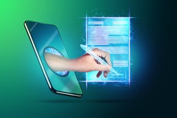 Concept of electronic signature, business at a distance, Image of a phone and a hologram of a contract and a hand with a pen for signature. Remote collaboration, online business. Mixed media