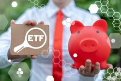 Concept of ETF - Exchange Traded Fund. Trade Market ICO IPO Financial Technology Business Investment. Search ETF Investments.