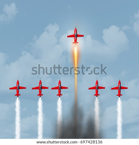 Concept of excellence as an empowerment or empower symbol as a group of jet planes racing with one innovator with a faster optimized engine achieving success with 3D illustration elements.