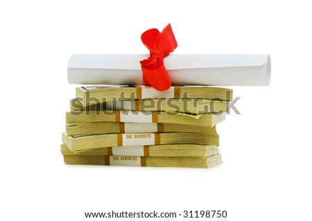 Concept of expensive education - dollars and diploma