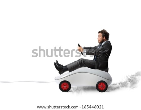 Concept of fast internet with mouse like a car - stock photo