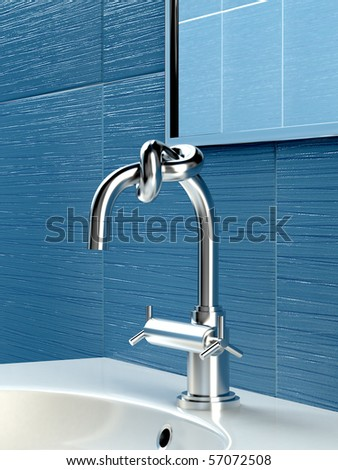 Concept of faucet with knot in blue bathroom