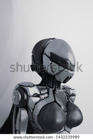 Concept of female futuristic cyborg with modern helmet and metal armor. Science fiction character. Cyberpunk robot woman. Cyber technology. Digital art style. Monochrome illustration. Digital painting
