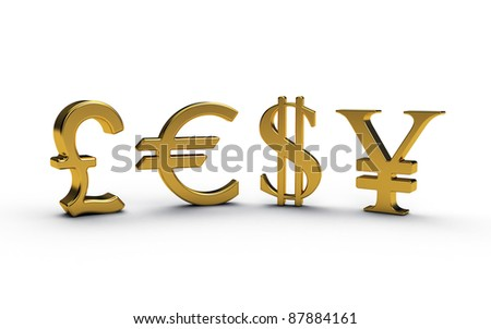 Concept of financial symbols for Pound, Dollars, Euros and Yen in gold.