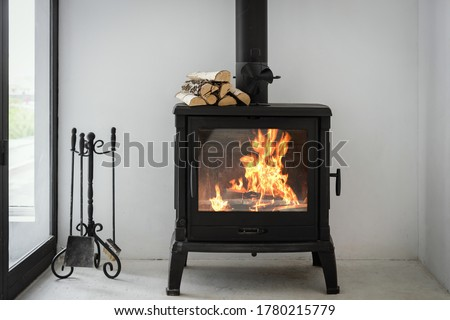 Concept of fireplace with fire at home. Comfortable living room with log wood on top of metal fireside, behind glass door and modern interior design Stock fotó ©