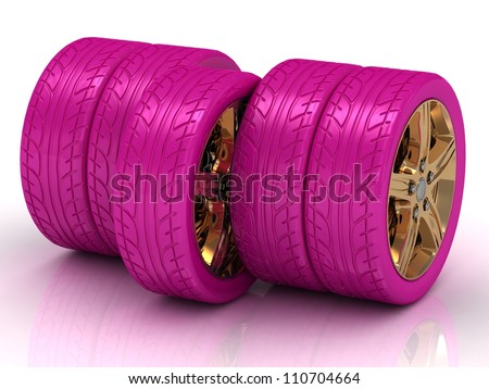 Concept of five pink wheels with golden disks on white background