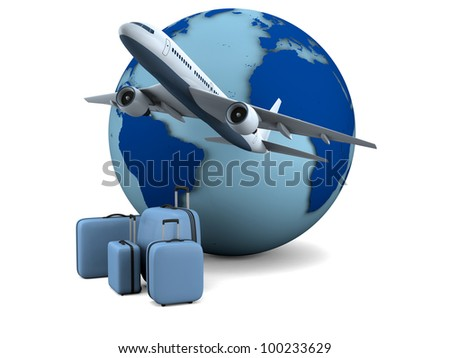 Concept of flying passenger aircraft with model of Earth in the background isolated on white background. Elements of this image furnished by NASA