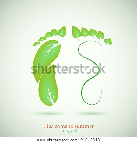 concept of footprint and green leaf. illustration. Best choice