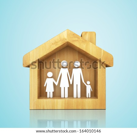 concept of full happy family in house on white background