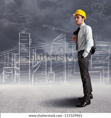 Concept of futuristic architect sketch
