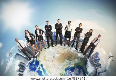 Concept Of Global Business Team With Businesspeople Over The World