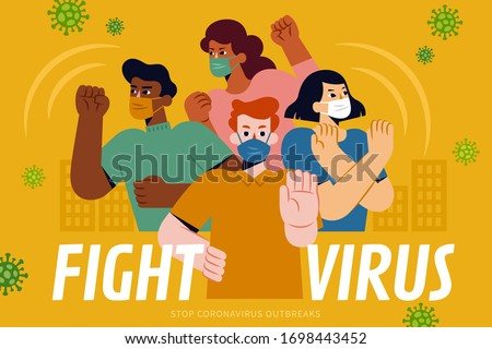 Concept of global cooperation to fight against COVID-19, with 4 brave young man of multi ethnic wearing face masks and saying no to coronavirus