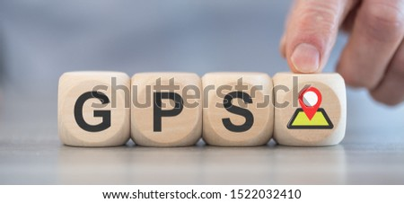 Concept of GPS on wooden blocks #1522032410