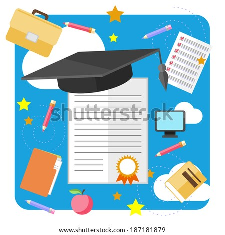 Concept of graduation with cap and certificate with seal