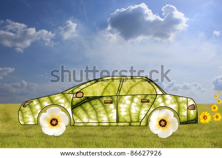 Concept of green car made from leaves and flowers