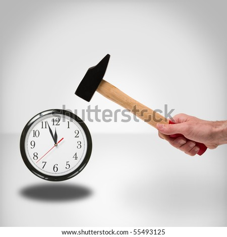 concept of hammer striking a clock to manage time