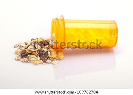 Concept of health meal between medicine and oatmeal