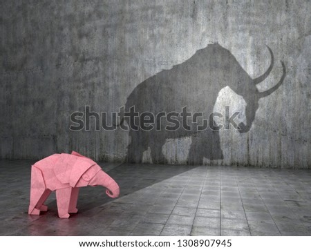 Concept of hidden potential. A paper figure of a elephant that fills the shadow of a mammoth. 3D illustration