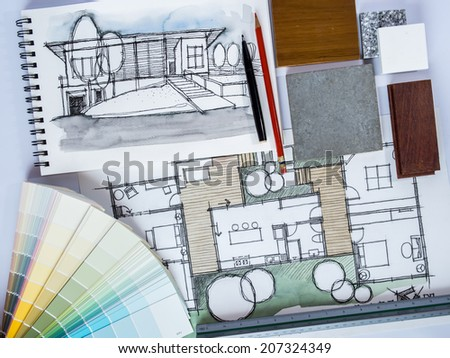 Concept of  home renovation with architecture /interior drawing and material sample background #207324349
